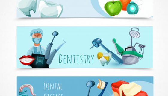Stomatology Banner Set Free Vector